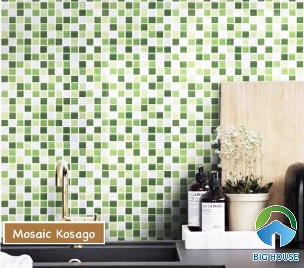Gạch mosaic màu trắng - xanh Kosago