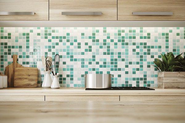 gạch mosaic ốp bếp tạo nên sự mới lạ
