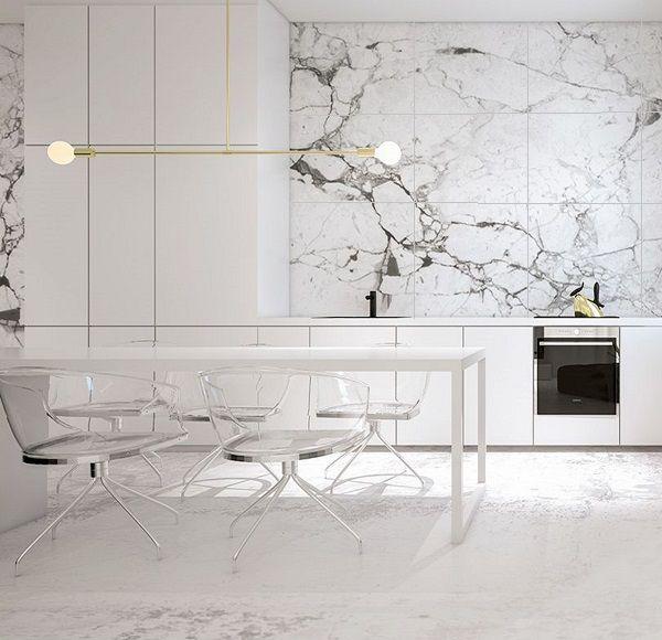 gạch ốp bếp 60x60 kích thước lớn phù hợp với những căn bếp rộng