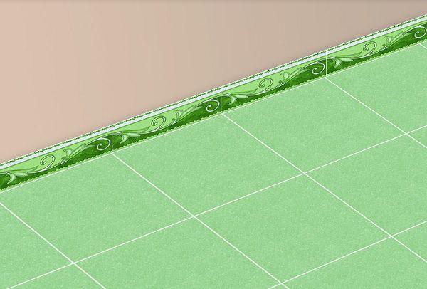 gạch ốp chân tường 120x400 màu xanh tươi mát