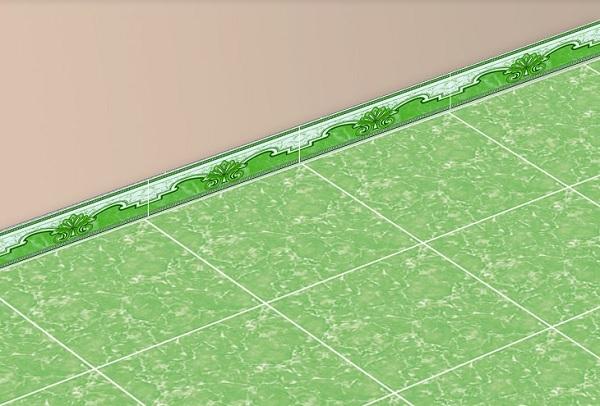 gạch ốp chân tường 120x400 màu xanh lá