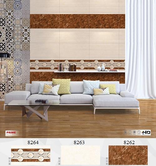 Gạch ốp chân tường phòng khách màu nâu vàng sang trọng