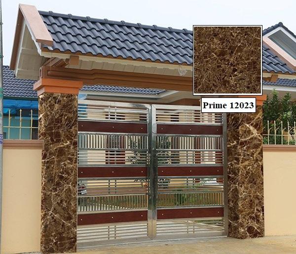Chọn gạch ốp trụ cổng giả đá đẹp màu cho cổng nhà vừa đơn giản, vừa sang trọng. Gạch giả đá Prime 12023 là một trong những mẫu gạch ốp cột cổng đẹp 2021 được rất nhiều khách hàng tìm mua