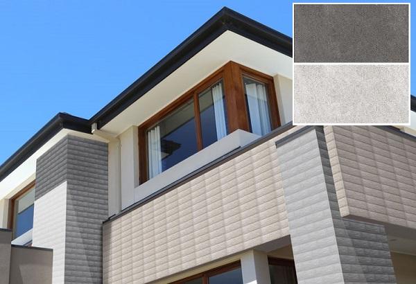 Kết hợp giữa 2 mẫu gạch đậm nhạt cùng tông để tạo nên sự khác biệt cho mặt tiền