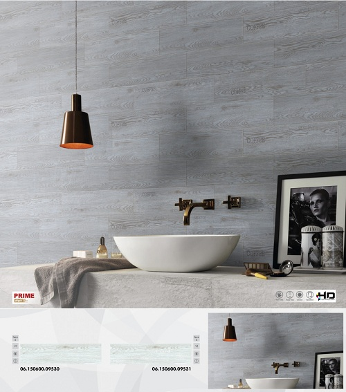 Mẫu gạch ốp tường nhà vệ sinh màu gỗ ghi xám thanh lịch