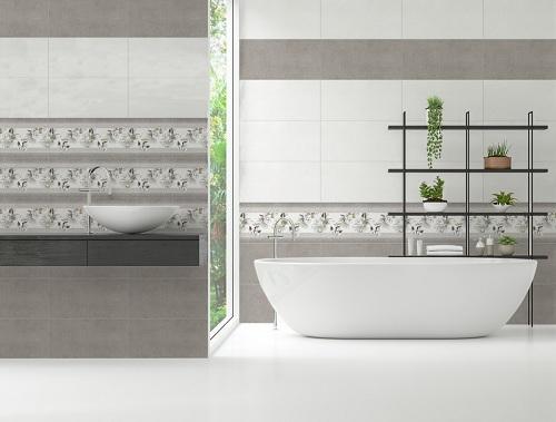 Mẫu gạch điểm họa tiết hoa nhẹ nhàng, tinh tế cho nhà tắm đẹp mắt