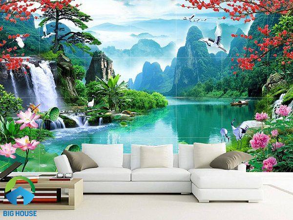 Phòng khách với cảnh non nước hữu tình đẹp mắt, ấn tượng nhất
