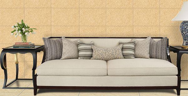 Sử dụng gạch giả đá ốp tường màu vàng tạo sự ấm áp cho không gian sở hữu