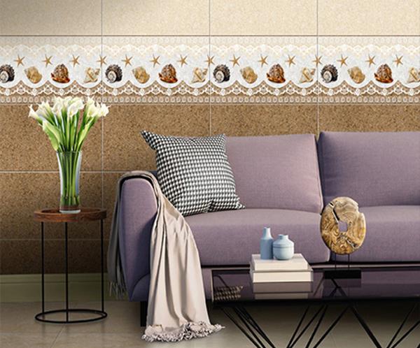 Bộ gạch đậm điểm nhạt cho phòng khách tạo điểm nhấn đặc biệt