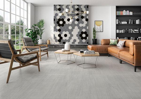 Gạch lục giác 3 màu ốp tường phòng khách mang đến sự mới lạ