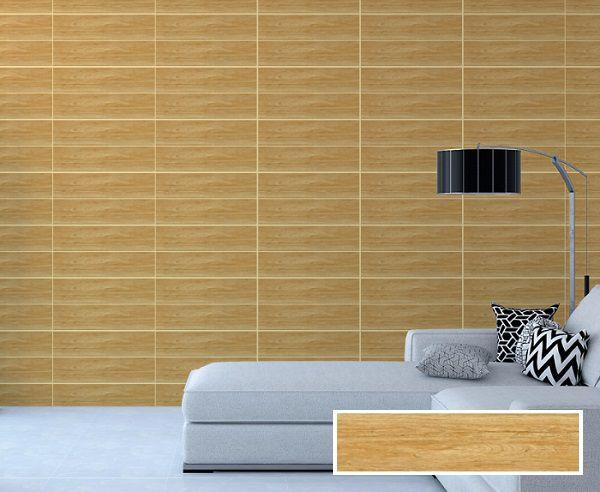 Chọn gạch vân gỗ màu vàng kết hợp cùng nội thất màu trắng khá bắt mắt