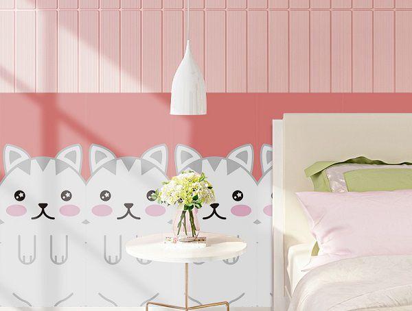 Chọn mẫu gạch ốp tường màu hồng cho bé gái mang lại sự thu hút