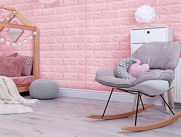 Gạch thẻ màu hồng nhạt mang đến sự đẹp mắt, ấn tượng phù hợp nhiều không gian