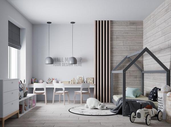 Mẫu gạch ốp tường giả gỗ đơn giản, sáng màu kết cùng nội thất màu trang nhã, đẹp mắt