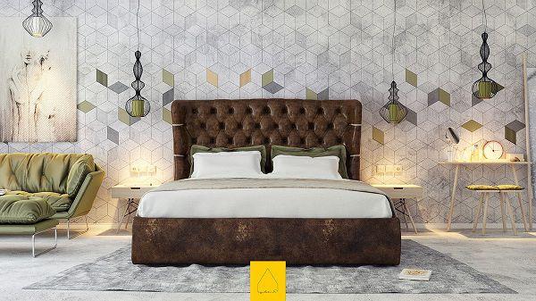 Gạch lục giác ốp tường phòng ngủ cá tính