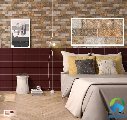 Gạch giả cổ ốp tường phòng ngủ tạo sự ấn tượng
