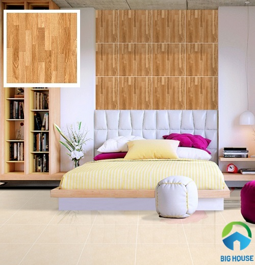 gạch ốp phòng ngủ prime vân gỗ nâu trầm