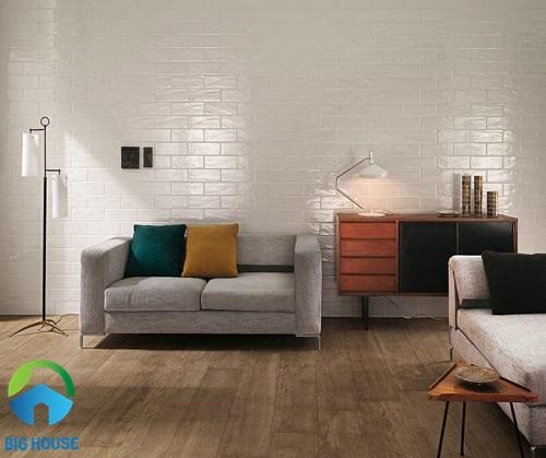 gạch ốp tường màu trắng dạng thẻ