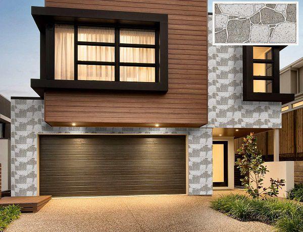 Gạch ốp tường giả đá kết hợp gạch vân gỗ kiến tạo nên vẻ đẹp tự nhiên cho căn nhà