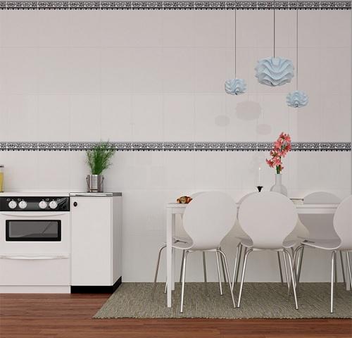 Gạch ốp tường nhà bếp màu trắng sang trọng