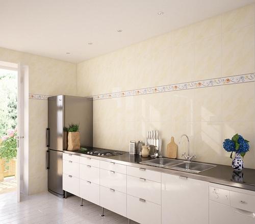 Gạch giả đá ốp tường nhà bếp sang trọng