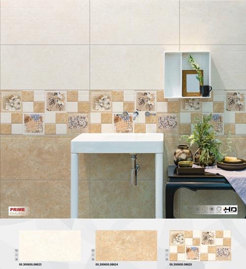 Gạch ốp nhà vệ sinh màu cam dịu nhàng