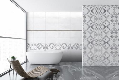 Gạch ốp tường tông trắng kết hợp với gạch điểm họa tiết caro độc đáo
