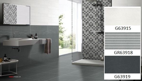 Bộ gạch ốp tường nhà tắm Taicera G63915, GR63918, G63919 với tông màu xám ghi chủ đạo đẹp sang trọng