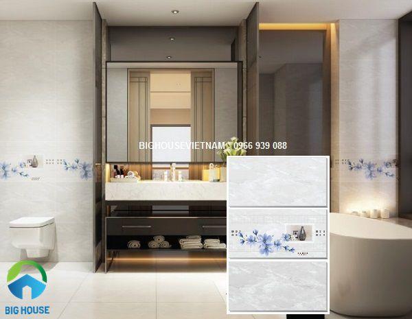 gạch ốp tường nhà vệ sinh đẹp theo bộ đậm điểm nhạt