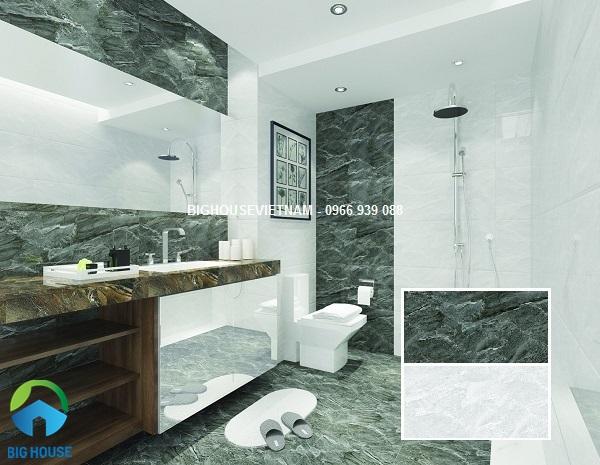 bộ gạch ốp tường nhà vệ sinh vân đá tinh tế