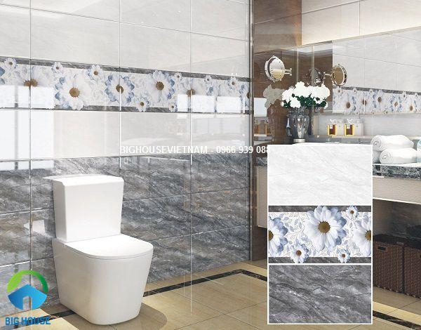 Gạch vân đá theo bộ đậm điểm nhạt của hoàng mỹ rất phù hợp với công trình nhà vệ sinh