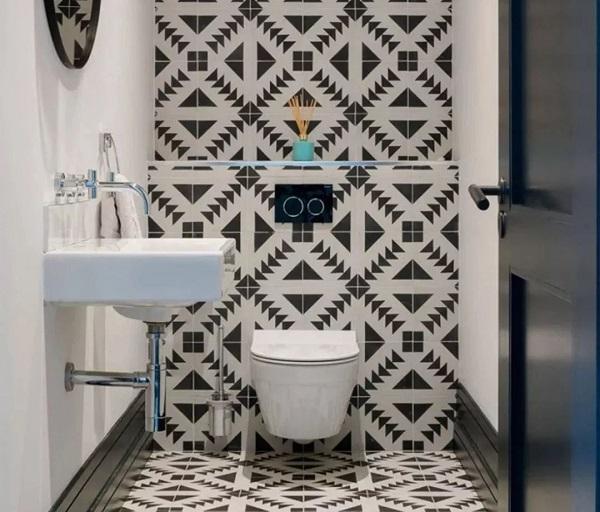 gạch ốp tường nhà vệ sinh nhỏ Ấn tượng
