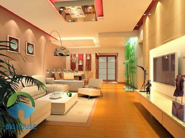 Gạch trang trí phòng khách màu hồng hợp phong thủy với gia chủ mệnh Hỏa