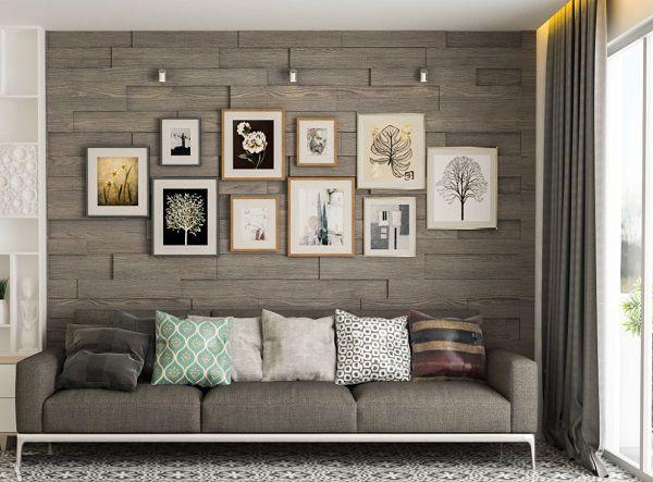 Sử dụng gạch ốp tường phòng khách giả gỗ cho không gian mang phong cách cổ điển