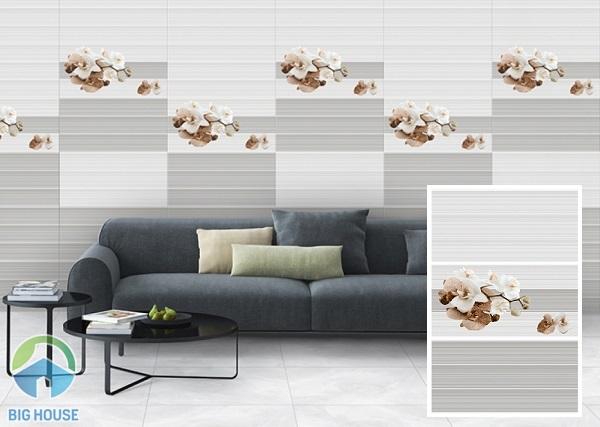 Bộ gạch ốp tường phòng khách 30x60 đậm điểm nhạt với cách ốp sáng tạo