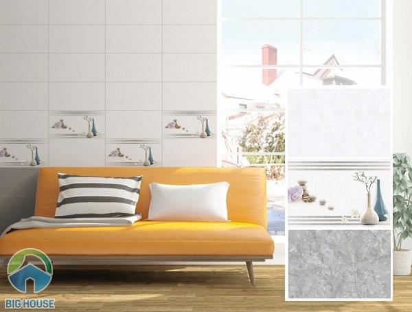 Bộ gạch ốp tường phòng khách 30x60 với viên điểm đẹp mắt tạo điểm nhấn