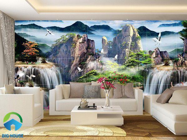 15 Mẫu tranh gạch 3D ốp tường phòng khách HÚT TÀI LỘC