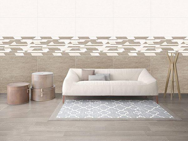 Gạch tông nâu theo bộ mang đến sự độc đáo cho phòng khách