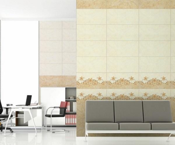 Bộ gạch đậm điểm nhạt trông cam mang đến sự ấm áp và dịu nhẹ cho phòng khách!