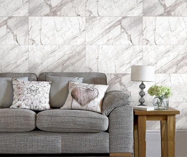 mẫu gạch ốp phòng khách đẹp giả đá