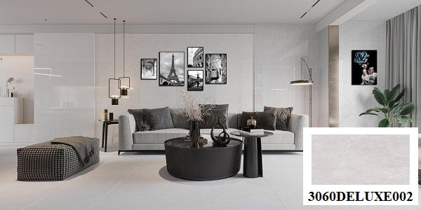 Thiết kế phòng khách hiện đại, sang trọng hơn hẳn với mẫu gạch dán tường Đồng Tâm 3060DELUXE002