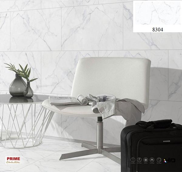 Gạch giả đá màu trắng tinh tế phù hợp với phòng khách rộng