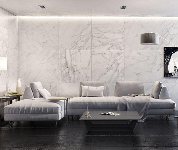 Gạch ốp tường màu trắng vân đá giúp mở rộng không gian hiệu quả
