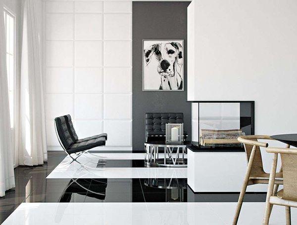 Ốp một mảng tường màu đen trên nền tường trắng tạo điểm nhấn cho không gian