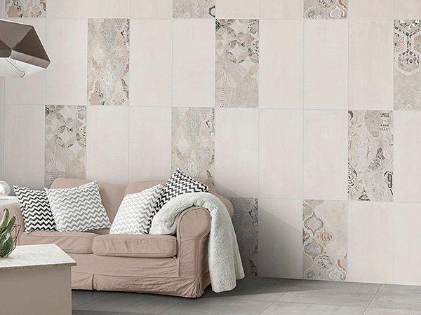 Chọn gạch ốp tường phòng khách màu trắng kết hợp cùng nhiều viên điểm tạo sự ấn tượng