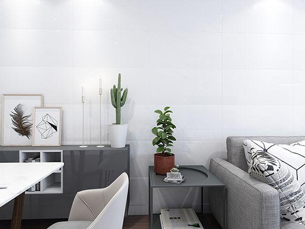 Gạch ốp tường màu trắng mang lại sự thanh lịch khi kết hợp cùng nội thất tối