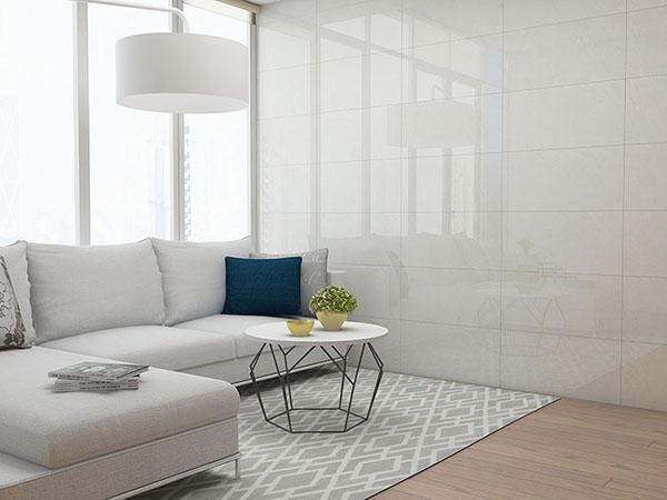 Gạch ốp tường phòng khách màu trắng kết hợp cùng sàn gỗ sang trọng