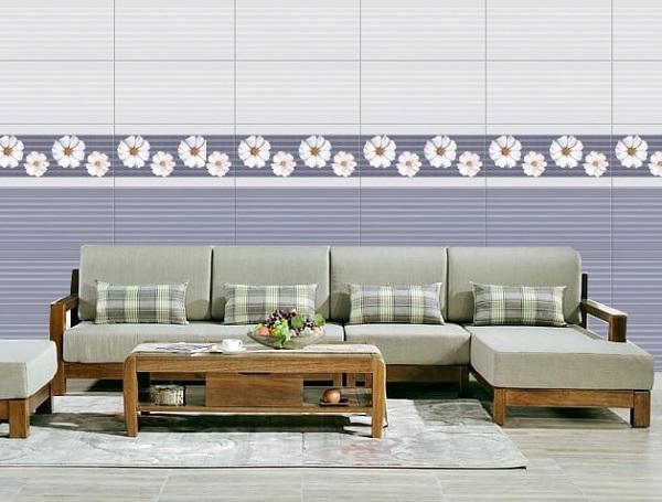 Gạch ốp tường phòng khách nhà cấp 4 viglacera theo bộ đẹp mắt