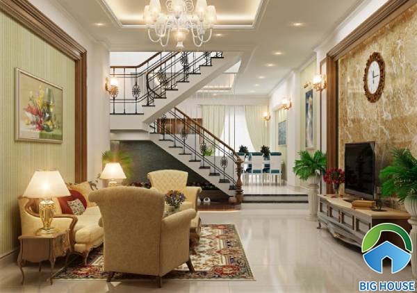 Cách phối màu gạch ốp tường phòng khách nhà ống đạt thẩm mỹ tối đa