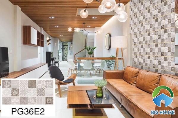Gạch ốp tường phòng khách nhà ống Bạch Mã PG36E2